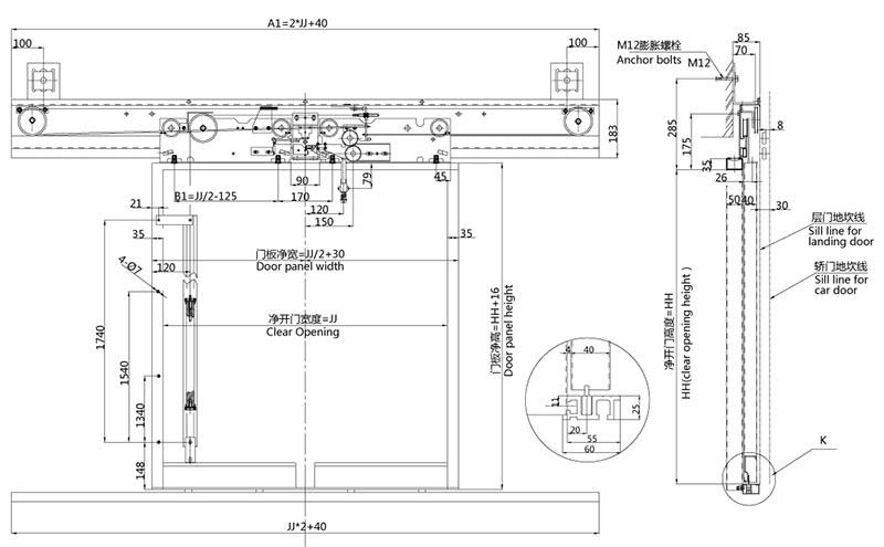 Elevator Door Plan. 产品图纸(请在左边提取) Elevator Door Plan E